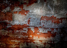 Dirty shabby wall in grunge style in vivid orange color Stock Photo