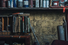 Free Dirty Shelves In The Garage Stock Photos - 88143043