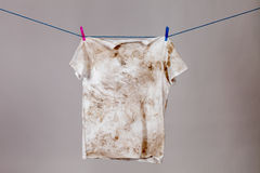 Dirty shirt. Hanging to dry Royalty Free Stock Image