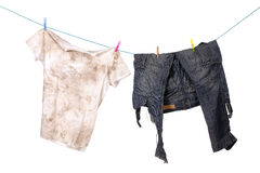 Dirty shirt and trousers Royalty Free Stock Photos