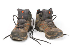 Dirty shoes, trekking boot. Stock Photo