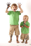 Dirty siblings Royalty Free Stock Photography