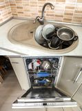 Dirty sink with kitchenware, utensil, dishes. Open dishwasher wi. Dirty sink with kitchenware Royalty Free Stock Images