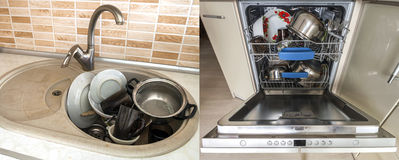 Dirty sink with kitchenware, utensil, dishes. Open dishwasher wi Stock Images