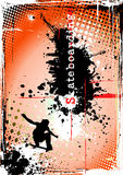 Dirty skateboarding poster. Man with skateboard on the dirty background Stock Images