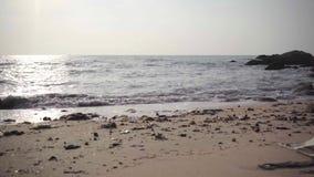 Dirty skräpat ner strand och hav ekologisk miljöfotoförorening för kris Ekologisk catastrophy 4K lager videofilmer