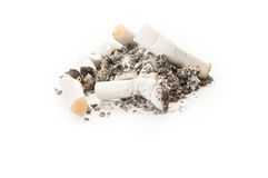 Dirty smelly cigarette ash and stumps or butts Stock Photo