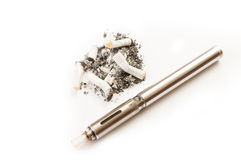 Dirty and smelly smoking habit versus clean electronic cigarette Royalty Free Stock Photography