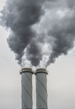 Dirty smoke stack of coal fired power plant Royalty Free Stock Photos