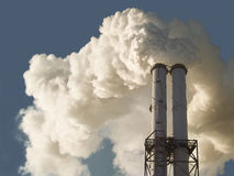 Dirty smoke stack of coal fired power plant Royalty Free Stock Photography