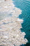 Dirty snow melts in the river. Environmental pollution Stock Photography