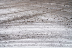 Dirty snow on town intersection Stock Photo