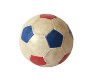 Dirty soccer ball. On white background Royalty Free Stock Photography