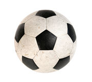 Dirty Soccer ball. Isolated on white background Stock Photo