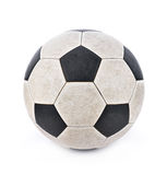 Dirty soccer ball on white background. Royalty Free Stock Photography