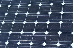 Dirty solar panels. Solar panels splattered with bird droppings stock image