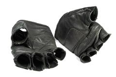 Dirty sporting gloves isolated. On white Royalty Free Stock Photography