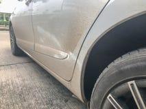 Dirty spray mud of the door car royalty free stock photo