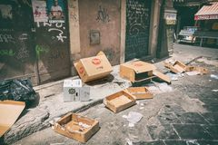 Dirty street trash Royalty Free Stock Photo