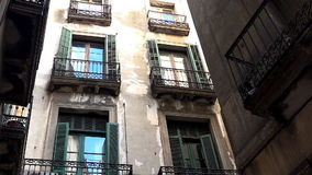 Dirty streets, the slums of Barcelona. Spain. stock video footage