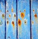 dirty stripped paint in the blue wood door and rusty nail Royalty Free Stock Photography