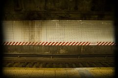 Dirty subway. Old dirty subway rail background, photo taken in new york Royalty Free Stock Photography