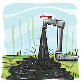 Dirty tap water. Cartoon illustration of dirty tap water Stock Photos