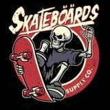 Dirty textured of skull skateboarding bagde Royalty Free Stock Photos