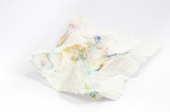 Dirty tissue paper isolated background. Crumpled dirty tissue paper isolated background Royalty Free Stock Image
