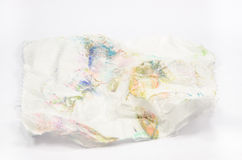Dirty tissue paper isolated background. Crumpled dirty tissue paper isolated background Stock Images