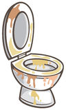 Dirty toilet bowl. Vector illustration Stock Images