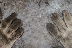 Dirty tools handyman glove workshop. Concept background top view Royalty Free Stock Photos