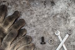 Dirty tools handyman workshop. Nut and bolt for fix concept background Stock Photo
