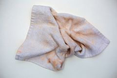 Dirty towel. On white background Stock Images