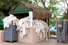 Dirty towels. On carts and shellves of the haoae Stock Photography