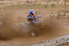 Dirty track racing. SERPUKHOV, RUSSIA - OCTOBER 7, 2017: Nikolaev Maksim 13,  Class ATV-JUNIORS, in the 4 stage  MX series, the Red Wings Cup 2017 super country Royalty Free Stock Photography