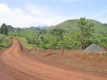 Dirty track spinning. Between the green hills - Cameroon - Africa Royalty Free Stock Photo
