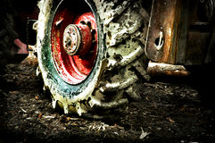 Dirty tractor. 's wheel, Bystra, Poland Royalty Free Stock Photography