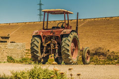 Dirty Tractor in Iraqi desert Royalty Free Stock Image