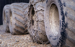 Dirty tractor wheels Stock Photo