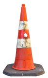 Dirty traffic cone isolated on white Stock Photo