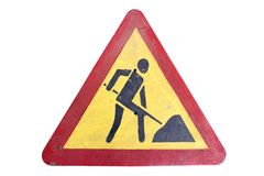 Dirty triangular red border yellow road sign `Road works` isolat. Ed on white royalty free stock image