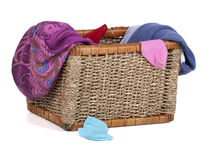Dirty underwear lying in a wicker basket Royalty Free Stock Photo