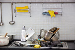 Dirty utensil on the kitchen. Heap of dirty utensil on the kitchen royalty free stock photography