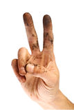 Dirty victory sign Stock Image
