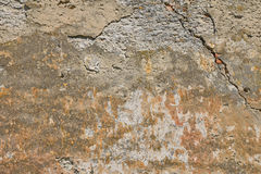 Dirty wall with peeling plater and rusty stains Stock Image