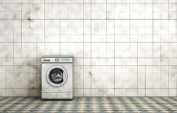 Dirty washing machine in the empty dirty room. In grunge style. Tiled room. 3d illustration Royalty Free Stock Photo
