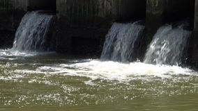 Dirty water flow to sewer from city,waste water flows from a pipe