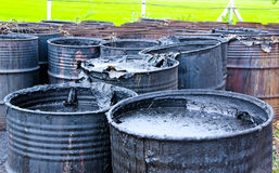 Dirty water pollution in tank. Close up Dirty Pollution wastewater in tank Royalty Free Stock Photo