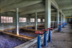 Dirty water room. Coal wasching room in an abandonned pit Stock Images
